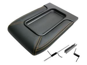 IPCW BB105 Front Jumper Seat Center Console Lid Black with Gold Color Stitching Accent 02-05 Avalanche 99-06 Silverado/Sierra/Suburban/Tahoe/Yukon/XL