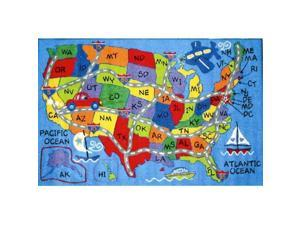 LA Rug FT-133 0811 Fun Time Collection - Travel Fun Rug - 7ft. 10 in. x 11ft. 4 in.