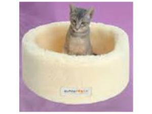 SI-15R-Y-X6X6 Alpha Pooch Siesta Cat Bed Natural Faux LambskinSmall
