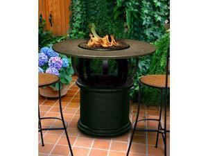 California Outdoor Concepts 2030-BK-PG11-SEA-54 Del Mar Bar Height Fire Pit-Black-Copper Reflective Glass-Sea Green - 54 in.