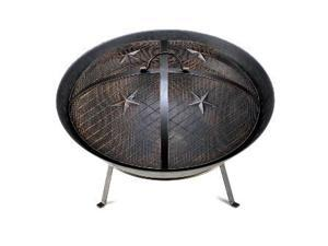 Zingz & Thingz 57070919 Cast Iron Western Stars Fire Pit with Detailed Mesh Lid