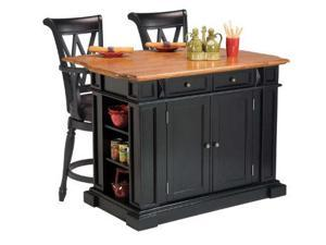 Home Styles 5003-949 Kitchen Island in Black and Distressed Oak Finish and Two Deluxe Bar Stools in Black Finish