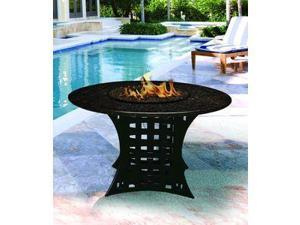 California Outdoor Concepts 4020-BK-PG5-BM-54 La Costa Dining Height Fire Pit-Black-Blue Glass-Black Mahogany - 54 in.