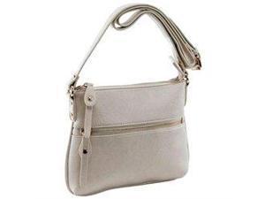 Parinda 11133 ASHEN Textured Faux Leather Crossbody Bag - Cream