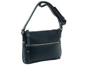 Parinda 11138 ASHEN Textured Faux Leather Crossbody Bag - Navy