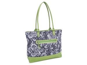 Parinda 11161 ALLIE Quilted Fabric with Croco Faux Leather Tote - Grey Floral Green