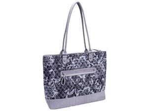 Parinda 11163 ALLIE Quilted Fabric with Croco Faux Leather Tote - Grey Floral