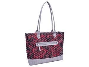 Parinda 11166 ALLIE Quilted Fabric with Croco Faux Leather Tote - Red Floral Grey