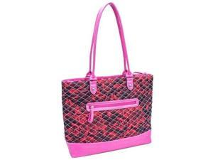 Parinda 11169 ALLIE Quilted Fabric with Croco Faux Leather Tote - Red Floral Pink