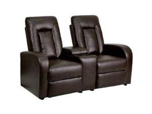 Flash Furniture Brown Leather 2-Seat Home Theater Recliner with Storage Console