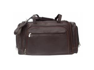 Piel 2462-CHC Leather Duffel Bag with Multiple Compartments - Chocolate