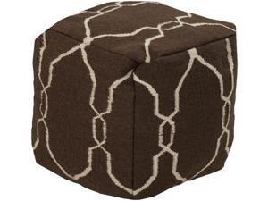 "18"" x 18"" x 18"" 100% Wool Pouf- Ivory, Dark Chocolate"