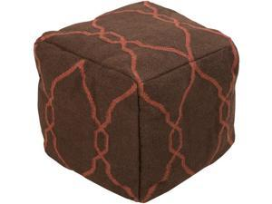"18"" x 18"" x 18"" 100% Wool Pouf- Safari Tan, Rust Red"