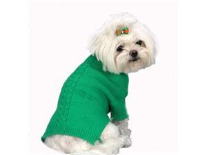 A Pets World 07153703-8 Mercerized Cotton Roll Neck Cable Grass Green Dog Sweater