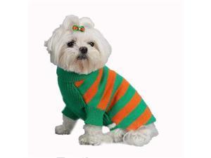 A Pets World 07153803-16 Mercerized Cotton Grass-Orange Rugby Dog Sweater