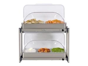 BroilKing MLB-25RT Professional Multi-Level Buffet Server with Stainless Base & Rolltop Lids
