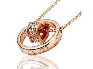 I. M. Jewelry N028 Cecile Heart 18K Gold Plated Rhinestone Pendant Necklace - Rose Gold