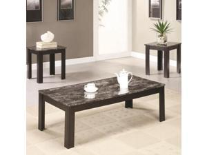 Contemporary Faux Marble Coffee  End Table 3-Piece Set by Coaster