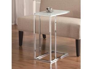 Contemporary Snack Table with Glass Top in Silver by Coaster