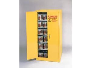 Eagle Ypi-6010 Paint And Ink Safety Storage Cabinets - Yellow Two Door Self-Closing Five Shelves