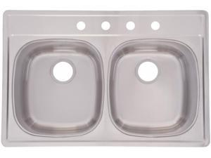 Franke Kindred DSK854-18BX 33 in. X 22 in. X 8 in. Double Bowl Kitchen Sink