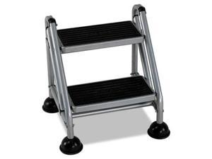 Bridgeport 11824GGB1 Rolling Commercial Step Stool, 2-Step, 19 7/10 Spread, Platinum/Black