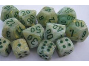 Chessex Manufacturing 27209 D10 Clamshell Set Of 10 Dice - Marble Green With Dark Green Numbering