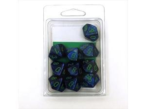 Chessex Manufacturing 27296 D10 Clamshell Set Of 10 Dice - Lustrous Dark Blue With Green Numbering