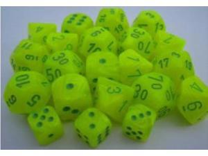 Chessex Manufacturing 27222 D10 Clamshell-Vortex Electric Yellow With Greennumbering