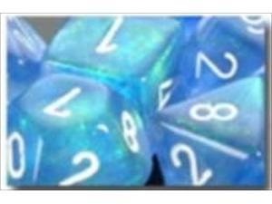 Chessex Manufacturing 27626 16 mm Borealis Blue With White Numbers D6 Dice Set Of 12