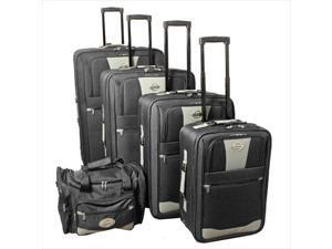 Transworld 731700-BLACK Expandable Wheeled Upright Luggage Set, Black - 5 Piece