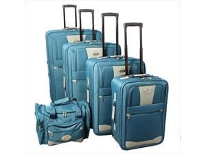 Transworld 731700-TEAL Expandable Wheeled Upright Luggage Set, Teal - 5 Piece