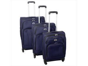 Transworld 736300-NAVY Expandable 360 Degree Spinner Upright Luggage Set, Navy - 3 Piece
