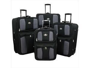 Transworld 73E4100-BLACK All Inclusive 4-Piece EVA Molded Expandable Rolling Luggage Set, Black
