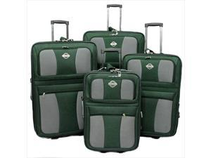 Transworld 73E4100-GREEN All Inclusive 4-Piece EVA Molded Expandable Rolling Luggage Set, Green