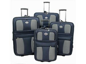 Transworld 73E4100-NAVY All Inclusive 4-Piece EVA Molded Expandable Rolling Luggage Set, Navy Blue