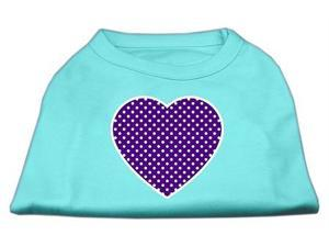 Mirage Pet Products 51-102 LGAQ Purple Swiss Dot Heart Screen Print Shirt Aqua Lg - 14