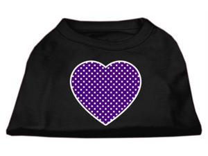 Mirage Pet Products 51-102 LGBK Purple Swiss Dot Heart Screen Print Shirt Black Lg - 14