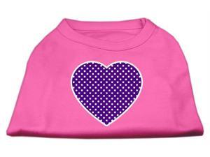 Mirage Pet Products 51-102 LGBPK Purple Swiss Dot Heart Screen Print Shirt Bright Pink Lg - 14
