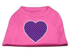 Mirage Pet Products 51-102 LGBPK Purple Swiss Dot Heart Screen Print Shirt Bright Pink Lg - 14