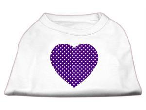 Mirage Pet Products 51-102 LGWT Purple Swiss Dot Heart Screen Print Shirt White L - 14