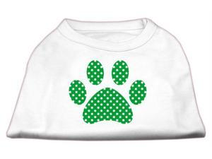 Mirage Pet Products 51-104 XXXLWT Green Swiss Dot Paw Screen Print Shirt White XXXL- 20