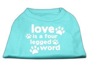 Mirage Pet Products 51-119 MDAQ Love is a Four Leg Word Screen Print Shirt Aqua Med - 12