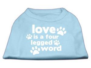 Mirage Pet Products 51-119 MDBBL Love is a Four Leg Word Screen Print Shirt Baby Blue Med - 12