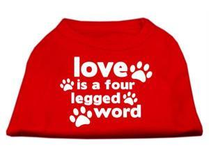 Mirage Pet Products 51-119 MDRD Love is a Four Leg Word Screen Print Shirt Red Med - 12