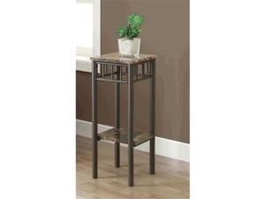 Monarch Specialties I 3044 Cappuccino Marble - Bronze Metal Plant Stand