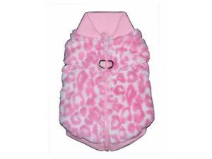 Hip Doggie HD-7PCV-XS Extra Small Pink Cheetah Mink Sweater Vest