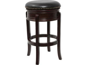 Flash Furniture 24'' Backless Cappuccino Wood Counter Height Stool with Black Leather Swivel Seat