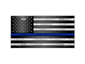 Police Officer Thin Blue Line On U.S. Flag License Plate