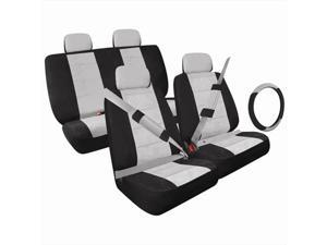 Pilot Automotive SC-5010G 13 Pieces Seat Cover Combo Black & Gray Low Back